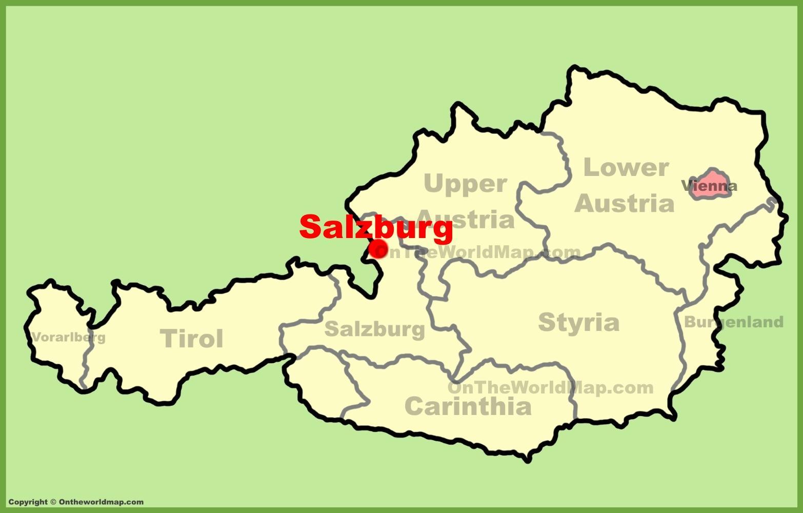 Salzburg Austurriki Kort Austurriki Salzburg Kort Vestur Evropu